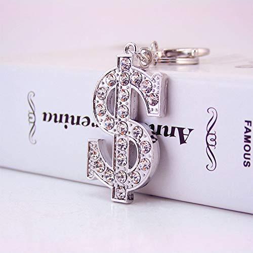 Jzcky Shzrp Cute Dollar Sign Crystal Rhinestone Fashion Keychain Key Chain Sparkling Key Ring Charm Purse Pendant Handbag Bag Decoration Holiday Gift ()