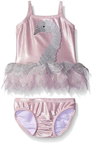 Kate Mack Baby Girls' Swan Princess Baby Girls' Tankini Swimsuit, Silver, 12 Months