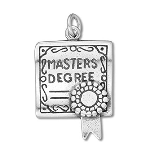 Sterling Silver Master's Degree Diploma Graduation Charm Item ()
