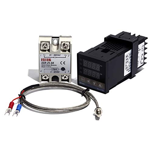 25DA Set Digital PID REX-C100 Temperature Controller and SSR Relay and K Thermocouple 25DA Set