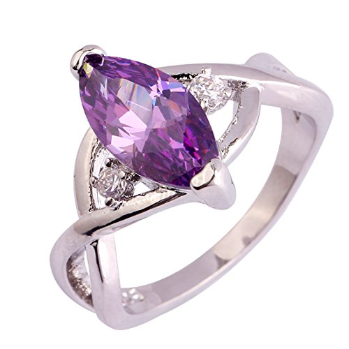 Silver Plated Marquise Cut Amethyst Gemstone Infinity Twisted Ring for Women (Amethyst Cubic Zirconia Ring)
