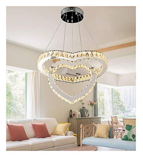 (AXIU Pendant Lights Romantic Double Heart-Shaped Restaurant Light Crystal Chandelier Bedroom Creative Bar Ceiling Lamp Chandelier (Color : Remote dimming))