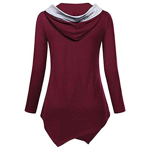 Longue Tops Sweat Magiyard Manche Dcontracte Bouton avec Shirt Irrgulier Vin Hem Chemise Femmes Rouge 44vSqEw
