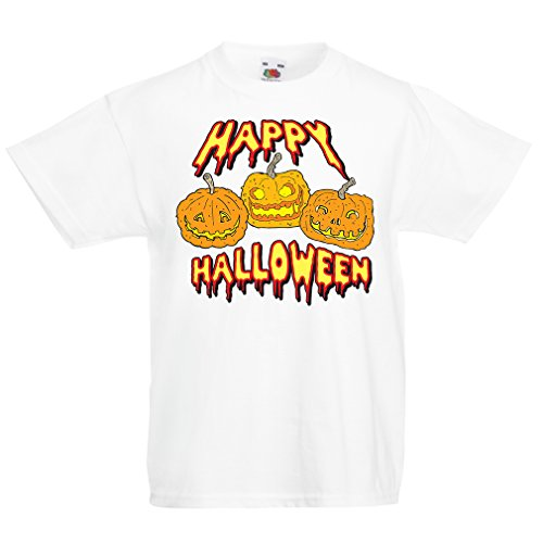 T shirts for kids Happy Halloween! Party Outfits & Costume - Gift Idea (7-8 years White Multi Color)