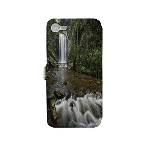Phone case Compatible with iPhone 7 iPhone 8 3D Printed PU Skin Cover Protection Sleeve,Mountain in North Western Lands Calming River Scene,Premium PU Leather Magnetic Flip Folio Protective iPhone ca