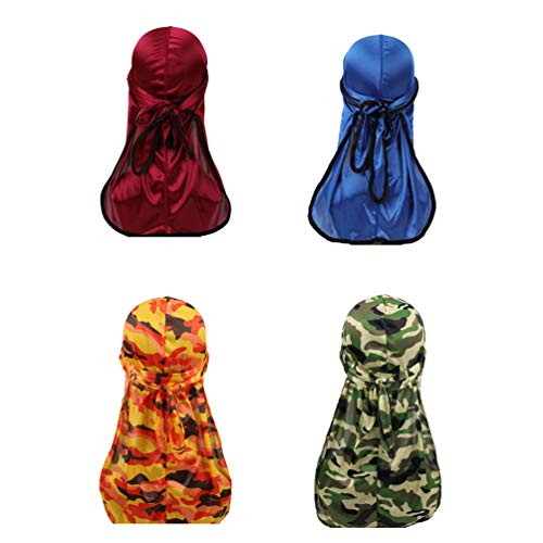 2 pcs Camouflage Premium Silky Durags and 2 pcs Solid Satin Silky Doo Rags with 360 Waves for Men Du-rag (Set11)