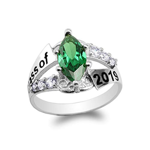 925 Sterling Silver Graduation Class of 2019 School Ring with 1.25ct Green Marquise CZ Size 9