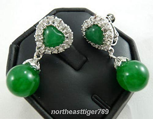 FidgetFidget Emerald Green Jade 18KWGP Crystal Heart Clip-On Earrings