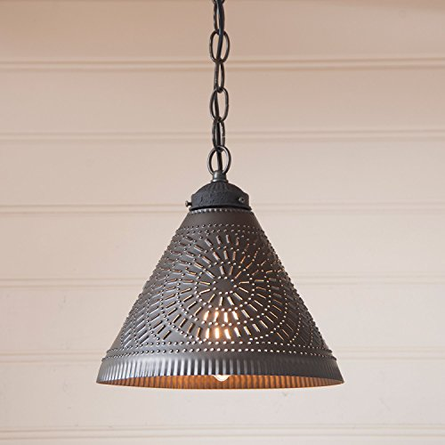 (Wellington Shade Light Pendant in Kettle Black Punched Tin)