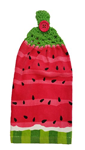 Handcrafted Spring Green Crochet Topped Watermelon Kitchen Towel