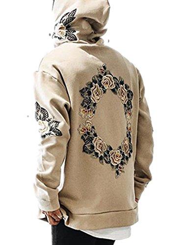 Pxmoda Men's Hip Hop Circle Floral Embroidery Hoodies Unisex Fleece Sweatshirts Jumper (M, Khaki)