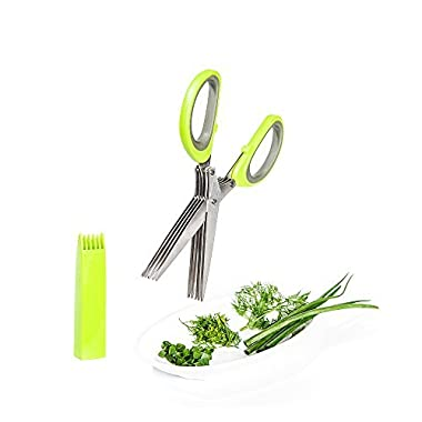 Vegetable's Chef - Culinary Herb Scissors - 5 Blades Stainless Steel Shears with Cover and Cleaning Comb