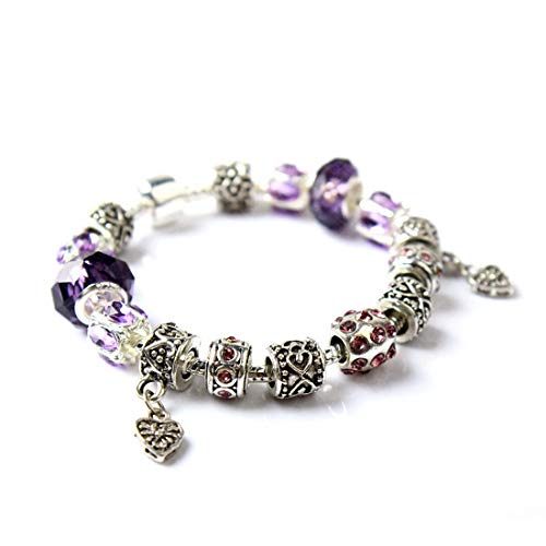 IDB Vintage Silver Tone Double Heart Glass Beaded Bracelet - Approx 7.4 Inch Strand with Extender Chain - Multiple Colors Available (Purple Paradise) ()