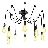Lightess Ceiling Lights Vintage Multiple Adjustable DIY Spider Pendant Lighting Chandelier E26 for Dining Living Room (10 heads)