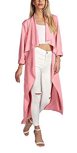 Giacca Donna Autunno Invernali Lunga Giacche Elegante Maniche Unico Lunghe Trench Moda Casual Sciolto Puro Colore Giubbotto Party Revers Con Cinghie Con Cardigan Tasca Pink