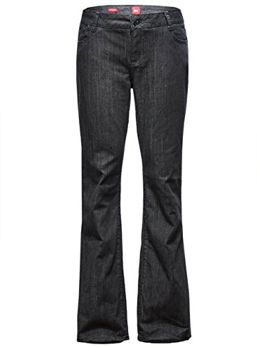 Straight Leg Bootcut Flare (Women's Solid Vintage High Waist Washed Jeans Black 16)