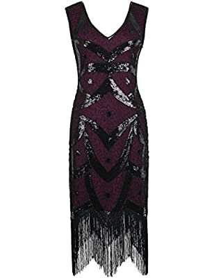 PrettyGuide Women 1920's Vintage 1920s Beads Sequin Deco Fringe Flapper Dress