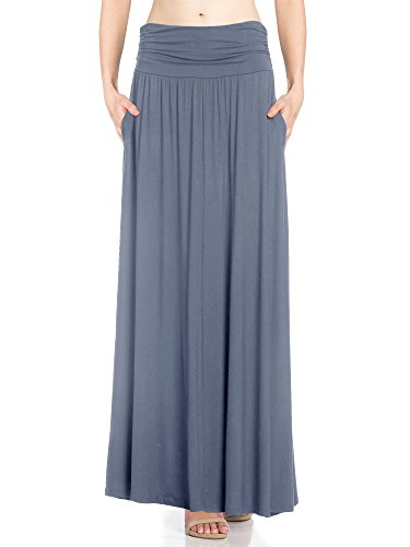 Fashion California FACA Womens High Waist Shirring Maxi Skirt With Side Pockets (XX-Large, Dark Denim)