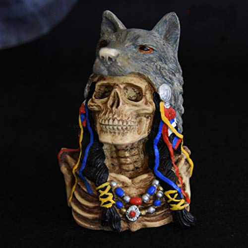 13.5 cm Home Office Room Club Bar Top Decorative Art Native American Indians Wolf Totem Skull Sculpture