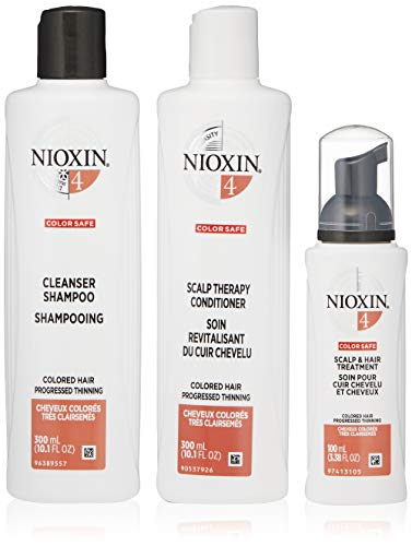 Nioxin Hair Care Kit System 4 for Color Treated Hair with Progressed Thinning, 3 Count
