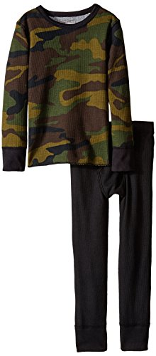 Fruit of the Loom Little Boys' Boys' Soft Waffle Thermal Underwear 2-Piece Set, Deep Green Camo, 6/7 Boys Camo Thermal