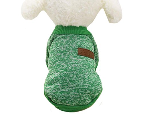 Gracefur Pet Clothes Classical Wool Wild Pet Sweater Comfortable Autumn Winter Warm Hoodies for Small/Medium Dogs Cat M Green