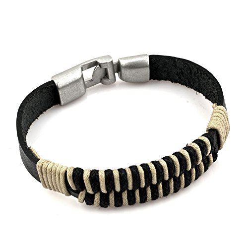 Heart of Charms Copper Alloy Vintage Cool Braided Handmade Leather Bracelets Wristband Rope Wrap (Style-3)