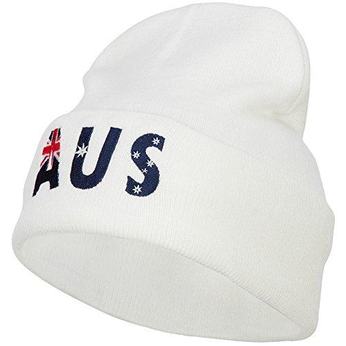 e4Hats.com Australia AUS Flag Embroidered Long Beanie - White OSFM