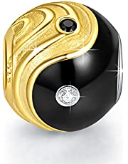 NINAQUEEN Charm Pandora Adattarsi Cinese Yin e Yang Idee Regalo Donna Argento 925 Smalto Perline per la Madre Fidanzata Moglie