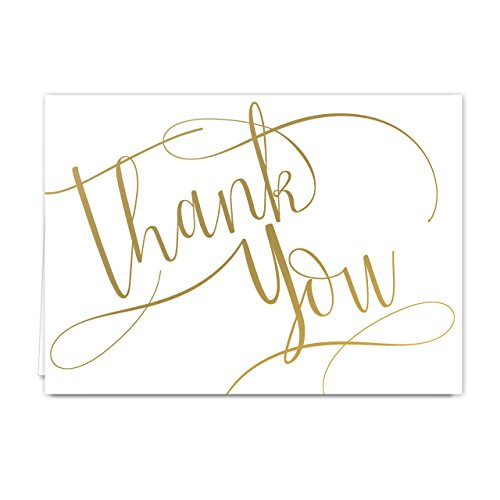 Gold Foil Thank You Note Card Pack - Set of 50 cards, blank inside - with envelopes -
