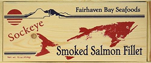 Smoked Sockeye Salmon, 16 Oz. Filet, Wooden Legacy Box Wild Alaska Smoked Salmon