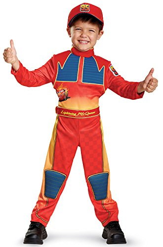 Cars Movie Halloween Costumes (Cars 3 Lightning Mcqueen Deluxe Toddler Costume, Red, Small)