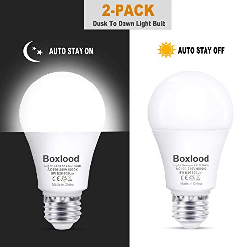 Dusk to Dawn A19 LED Light Bulb, Built in Light Sensor, Plug and Play, 6000K Cool White, 60W Halogen Equivalent, E26, 120V, Auto On/Off Indoor Outdoor Lighting Bulb (2 Pack) by Boxlood