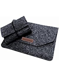 """Macbook Sleeve Case 13-13.5 inch, Josphine's Home Felt Ultra Slim Portable Protective Carrying Cover Bag with Mouse Pouch for 12"""" 13"""" Universal Laptop Chromebook Ultrabook Notebook Tablet - Dark Grey"""