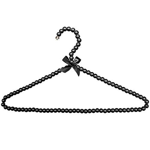 FRECI Pearl Beaded Clothes Hanger Coat Trouser Dress Pants Hanger Rack for Home Boutique Clothes Shop Wedding Decor - Black