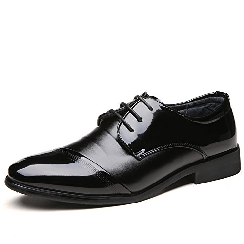 Graceful Shoes Leather Formal Men's Bearing Black Oxfords Block Lace Shoes up Heel Business qpqOxgw8