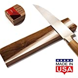 Magnetic Knife Strip Self Adhesive - 10 inch Magnet holder - Utensil Rack for Kitchen or Bar - Wall or Fridge Mount - Walnut Wood - Made in USA