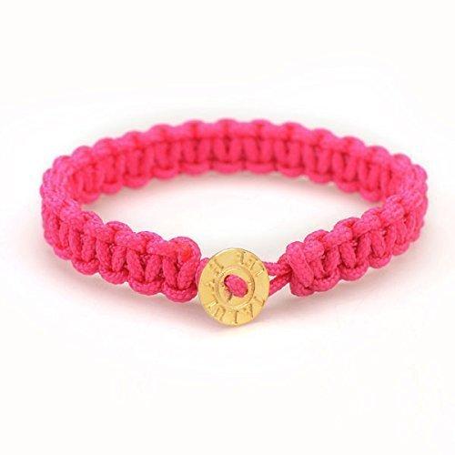 Pink Paracord Bracelet - 18K Gold Vermeil Button, Survival, Novelty, Woven Bracelet, Nylon Braided Cord Bracelet, GIft for Friend (Vermeil Button)