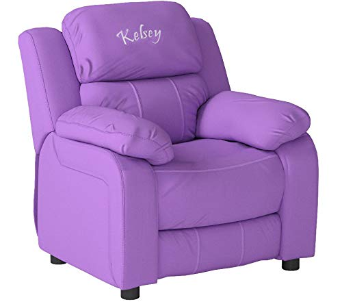 Flash Furniture Personalized Deluxe Kid's Recliner Upholstery: Lavender Vinyl by Flash Furniture