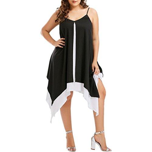 Vestido de Fiesta Mujer Sexy Sin Manga Verano Elegante Color de Hechizo Irregular Vestido de Noche Casual Vacaciones Playa Falda Tallas Grandes(XL~5XL)❤️LuckyGirls (5XL, Negro) Negro