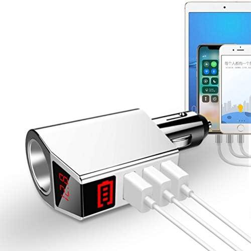 Cargador para automóvil: con tres puertos USB 5V / 3.1A, pantalla LED, voltaje del automóvil, un encendedor de cigarrillos externo, para el adaptador de carga rápida para automóviles de 12V-24V nJewwnG1