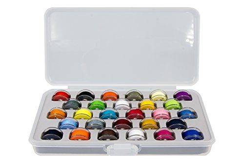 (Ultima Bobbin Holder - Bobbin Case, 28 Pre-Wound Bobbins Assorted Colors - Plastic Bobbin Storage Boxes - Plastic Bobbins - Threaded Bobbins - (Bobbin Box w28 Pre-Wound Bobbins Assorted Colors))