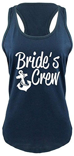 Comical Shirt Ladies Racerback Tank Bride's Crew Cute Anchor Bridesmaids Gift Tee Navy L