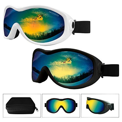 MOTOEYE Snow Ski Goggles Pack of 2,Snowboard Skiing Goggle with Nano-Microfiber Anti-fog Lens Cloth,Anti-glare Lenses UV Protection,Wind Resistance,for Kids,Youth,Men,Women in Eyewear Case