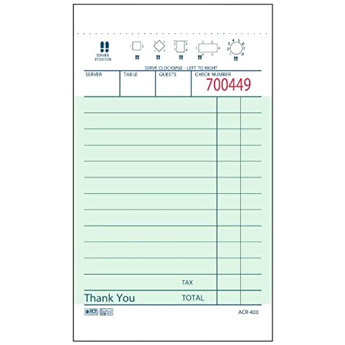 Chic DayMark ACR 400 Guest Check Paper 1 Part Green 5