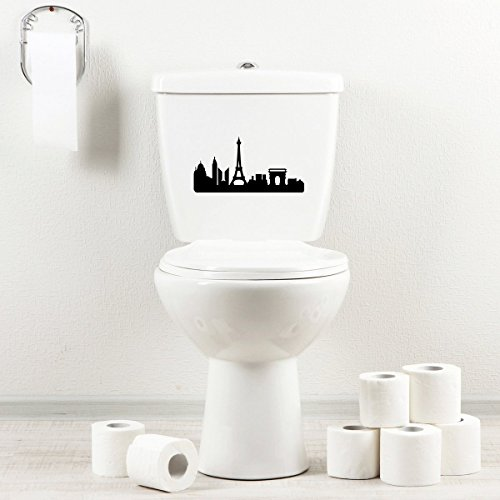 StickAny Bathroom Decal Series Paris Skyline 2 Sticker for Toilet Bowl, Bath, Seat (Black) ()