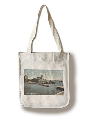 (Lantern Press New York, NY - Aquarium and Fireboat ''New Yorker'' (100% Cotton Tote Bag - Reusable))