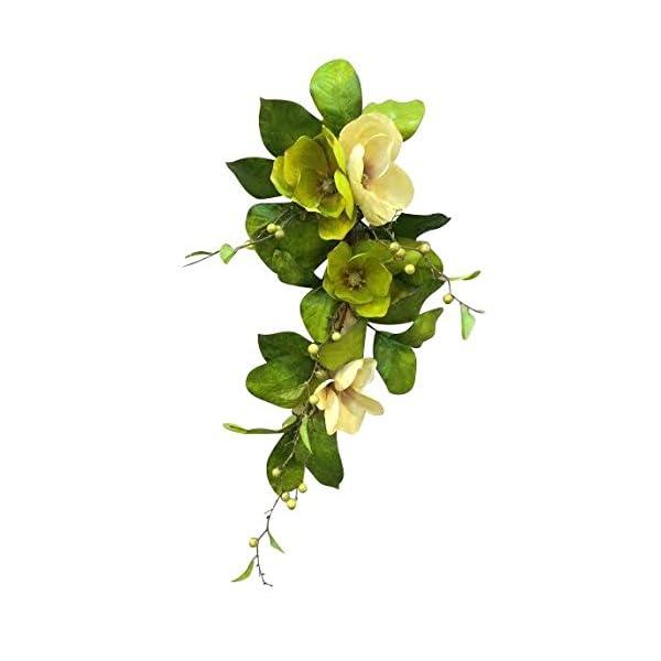 V-Max 33 inches Silk Magnolia Flowers Teardrop Garland for Wedding Party Home Garden, Wedding Arch Garden Wall Decoration, Home Decoration – Beige Green