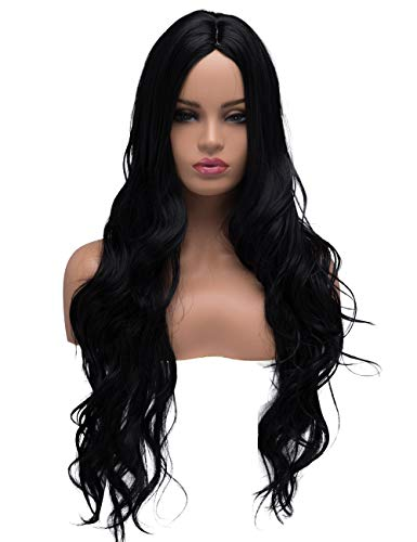 BESTUNG Long Curly Wavy Halloween Cosplay Wigs for Women Ladies Synthetic Full Hair Natural Daily Wear Black Brunette Wig with Middle Parting -