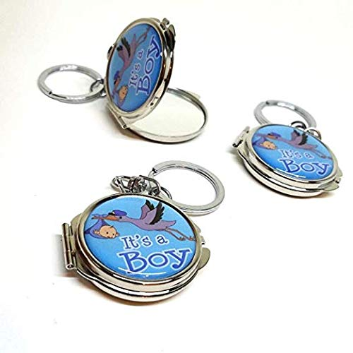 12 New Baby Shower Blue Boy Baby Stork Design Mirror Keychain Party Favor Set